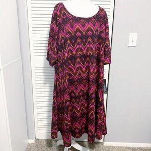 Avenue Plus Size Pink Chevron Printed Dress
